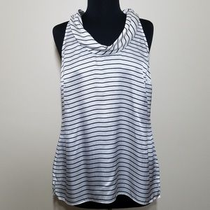 WHBM Silk Stripe Sleeveless Cowl Neck Blouse Large